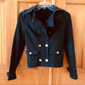 Aqua brand black and gold button military jacket